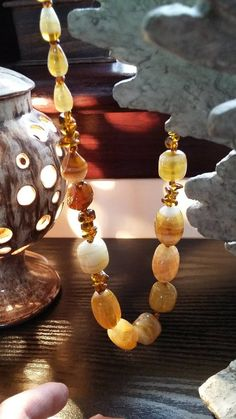 Your place to buy and sell all things handmade Amber Color, Earth Tones, Happy Shopping, Glass Beads, Pearl Necklace, My Etsy Shop, Chain, Silver, Handmade