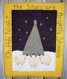 Oh Holy Night Wool Applique by JustJills on Etsy, $40.00