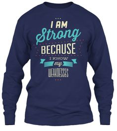 I Am Strong Sweatshirts And Hoodies Navy Long Sleeve T-Shirt Front