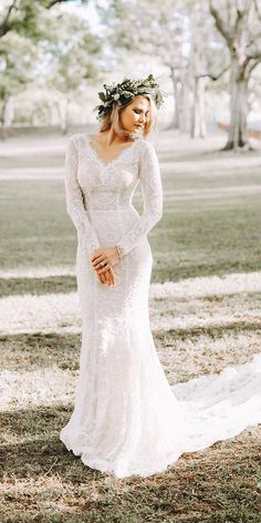 12 Barnyard Wedding Dresses To Inspire Any Bride ❤ barnyard wedding dresses v neck with sleeves train lace rustic goddess by nature ❤ Full gallery: https://weddingdressesguide.com/barnyard-wedding-dresses/ #bride #wedding #bridalgown #rusticwedding
