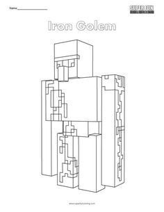 Iron Golem Coloring Page- Minecraft Minecraft Room Decor, Minecraft Crafts, Minecraft Iron, Minecraft Coloring Pages, Iron Golem, Mona Lisa Parody, Colouring Pages, Crafts For Kids, Yoga Routine