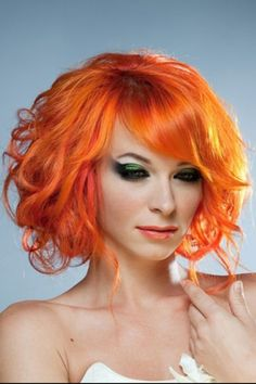 Orange #hair #bright #dyed #coloured