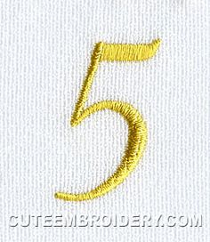 This free embroidery design from Cute Embroidery is the number 5.
