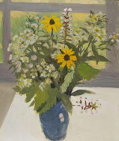 """Field Flowers and Berries,"" Fairfield Porter, 1965, oil on Masonite board, 16 1/4 x 14"", Mount Holyoke College Art Museum."