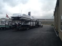 Another load of Bennington Pontoons coming in for delivery! 2 I/O's and a 300hp outboard that should be on the water this weekend.