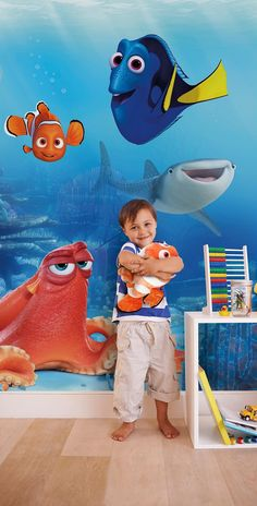 Create an instant feature in any room with this awesome Finding Dory Wall Mural! The colourful mural depicts a detailed underwater scene featuring Dory, Nemo, Hank the octopus and Destiny the whale shark. Wallpaper Online, Paper Wallpaper, Kids Wallpaper, Photo Wallpaper, Wallpaper Ideas, National Geographic, Disney Finding Dory, Finding Nemo, Disney Wall Murals