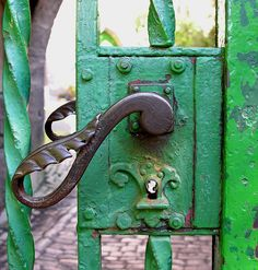 Wrought iron Door Handle on green gate to the church-/graveyard of Obermassfeld Gate Handles, Knobs And Handles, Old Doors, Windows And Doors, Portal, Door Knobs And Knockers, Door Detail, Iron Gates, Garden Gates