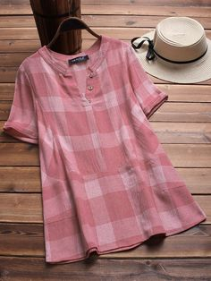 Vintage Plaid V-neck Short Sleeve Loose Shirts Cheap - NewChic