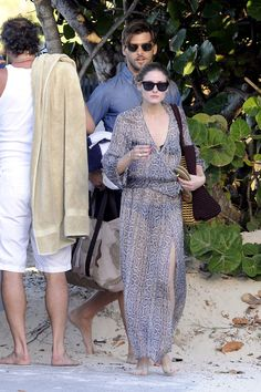 Olivia Palermo covered up effortlessly in a breezy Marie France Van Damme Cache-Coeur caftan ($439) while heading to the beach in St. Barts ...