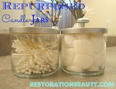 Repurposing Candle Jars DIY from Restoration Beauty