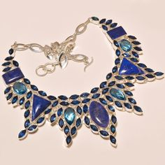 """.925 Silver Lapis Lazuli With Faceted Tanzanite Quartz Lovely Necklace 18"""" #Handmade"""