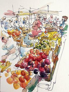Focus on the produce, sketchy on the people (Farmers Market, Urban Sketchers) Urban Sketchers, Sketchbook Inspiration, Art Sketchbook, Fashion Sketchbook, Travel Sketchbook, Observational Drawing, Watercolor Sketch, Art Drawings Sketches, Doodle Drawings