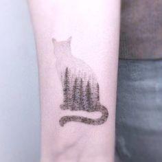 tatuaje contorno gato