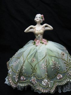 Porcelain half doll pincushion: