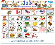 Free July Holidays calendar to upload!