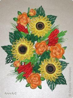 Картина, панно, рисунок, Поделка, изделие Квиллинг: Букет Счастья  Бумага, Клей День рождения. Фото 1