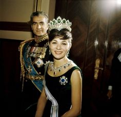royalwatcher:  Shah Mohammed Reza and Empress Farah (wearing the Seven Emeralds Tiara) of Iran