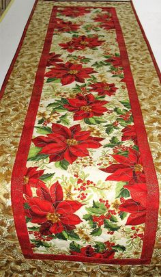 Christmas Table Runner with Poinsettias, from Kaufman Holiday Flourish by PicketFenceFabric on Etsy