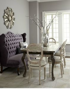 love the lavender love seat, french table and balloon back  chairs!