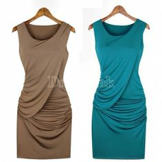 New Women's Girl Round Collar Sleeveless Pure Color Bag Hip Tank Dress 3Colors