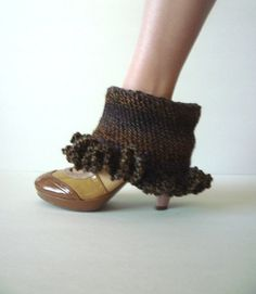 Brown Tweed Crochet Boot Toppers  Ankle Warmers by TaMuidBeo, $15.00
