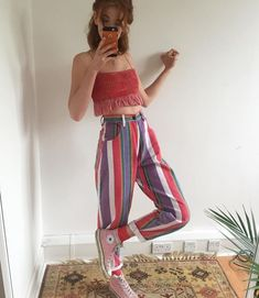 summer outfit | spring outfit| colorful outfit | how to style striped pants | how to style colorful pants | outfit | ootd
