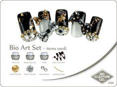 Black & gold bows art set Bow Art, Bio Sculpture, Gel Color, Nail Art Galleries, Gold Foil, Cute Nails, Black Gold, Jewelery, Gemstones