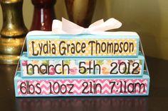 Personalized baby birth stat blocks birth birthday shower gift girl bird chevron polkadot