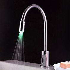 Contemporary Brass LED Sensor Chrome Finish Bathroom Sink Faucet – USD $ 99.99