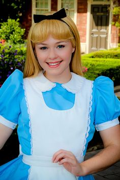 Alice is very curious. She often daydreams & gives herself advice instead of listening to the advice of others. Alice is well mannered, polite, courteous, mature and has an elegance & gentleness of a young woman. When she falls into Wonderland, she becomes determined to find the White Rabbit.  smallworldBIGFUN.com  #Disney #DisneyVacations #Alice