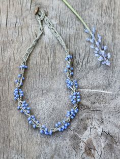 Linen necklace with blue glass beads Rustic by 100crochetnecklaces