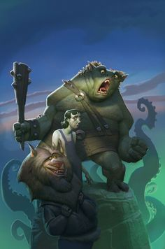 funny fantasy photoshop painting book cover illustration troll tentacles beast