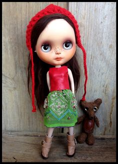 Blythe outfit-red real  leather top and skirt-2 pieces-vintage embroidery indian sari.