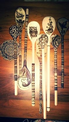 Spoons wood burned