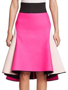 MILLY Contrast Satin Midi Skirt. #milly #cloth #skirt