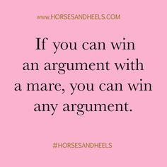 Don't try and argue with a mare