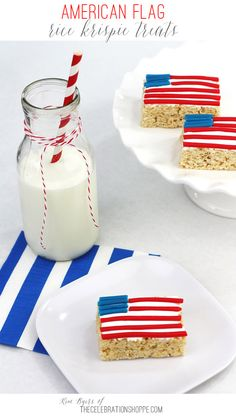 Red White and Blue American Flag Rice Krispies Treats