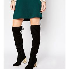 New Look Wide Fit Suedette Tie Back Over The Knee Boot (€32) ❤ liked on Polyvore featuring shoes, boots, black, black over the knee high heel boots, wide over the knee boots, black motorcycle boots, over the knee high heel boots and wide thigh high boots