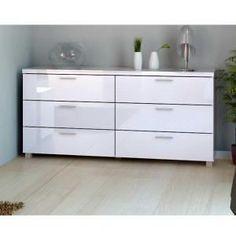 Elisha High Gloss 6 Drawer Chest - White Deals direct 140 x 40 x 67 cm