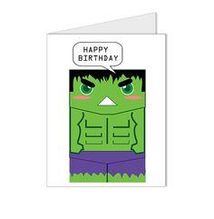 Happy Birthday - The Incredible Hulk Superhero Collection Custom Blank Card