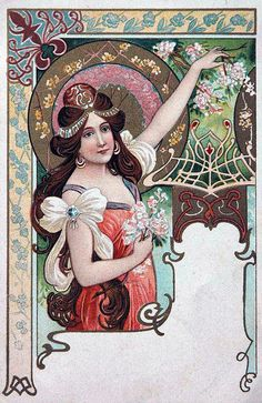 Art Nouveau vintage postcard 1923