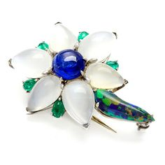Platinum Sapphire and Multi-gemstone Estate Flower Brooch   Overstock.com Shopping - Top Rated Estate and Vintage Brooches & Pins