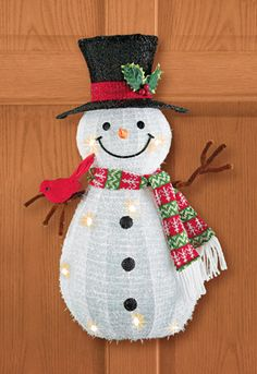 Lighted Snowman with Cardinal Wall Décor