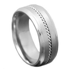 Amazon.com: Titanium Satin Steel Cable Inlay Shiny Step Edges Infinity Mens Wedding Ring Size 12: Jewelry