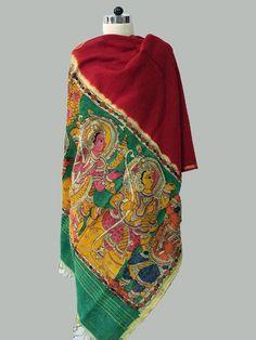 Red - Multicolor Border Handpainted Kalamkari Chanderi Dupatta