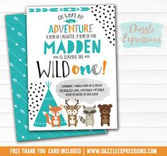 Printable Wild One Tribal Woodland Birthday Invitation | Modern 1st Birthday Party | Fox, Bear, Deer, Raccoon | Arrows and Dots | Favor Tags | Signs | Banner | Cupcake Toppers | Food Labels | Party Package Decor Available!