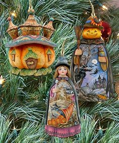 Another great find on #zulily! Halloween Wood Ornament - Set of Three #zulilyfinds