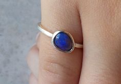 Solid Opal Ring Sparkling Blue Crystal from by AllAussieOpals