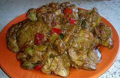 Куриная печень со сладким перцем по-китайски