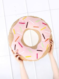 Add a donut pillow to your couch with the help of these easy home decor DIY project.
